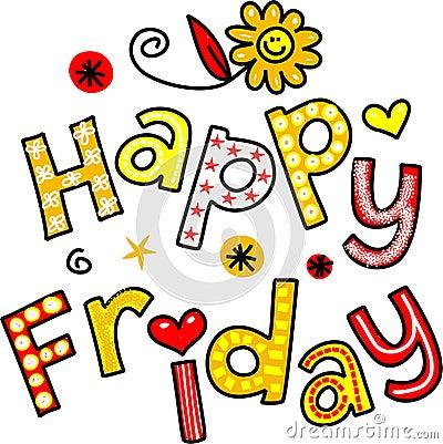 Happy Friday Cartoon Text Clipart Stock Illustration ...