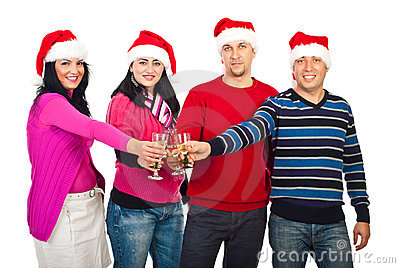 Happy friends celebrating Christmas