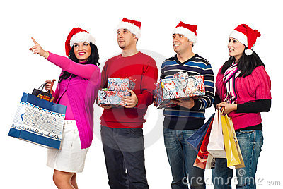 Happy friends with Christmas shoppings