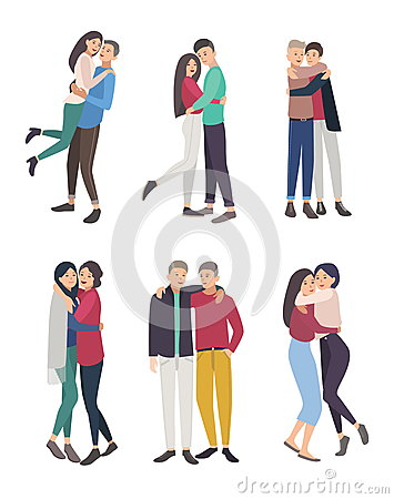 Happy friends hug set. guys and girls cuddling, colorful flat illustration. Vector Illustration