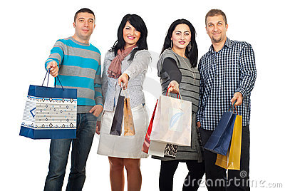 Happy friends people at shopping