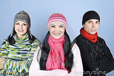 Happy friends people in winter season