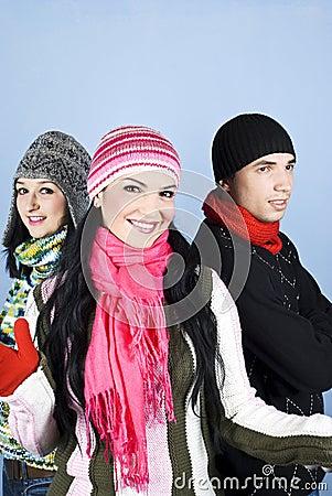 Happy friends in winter season