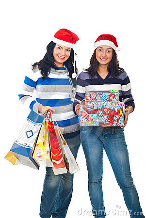 Happy friends women with Christmas gifts