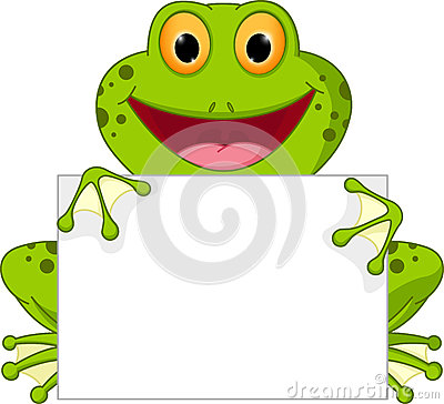 Happy frog cartoon with sign Vector Illustration