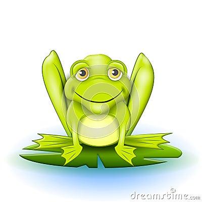 Happy Frog on Lilypad Cartoon Illustration