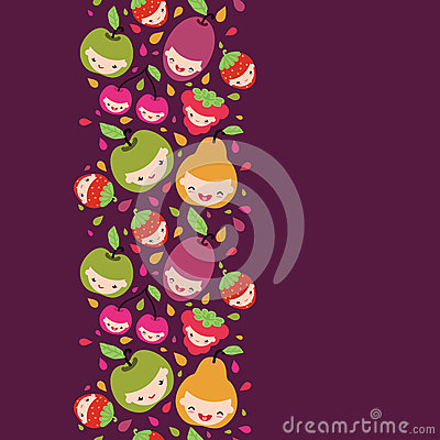 Free Happy Fruit Characters Vertical Seamless Pattern Royalty Free Stock Image - 32492646