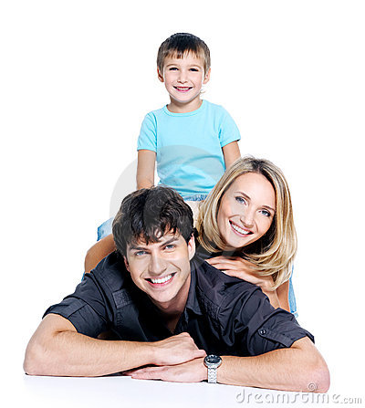 Happy fun family with child