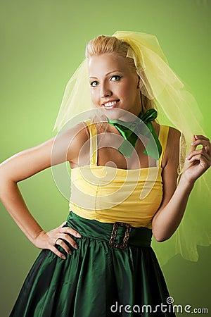 Happy funny bride