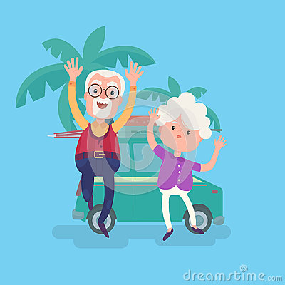 Happy funny grandparents couple on vacation Vector Illustration