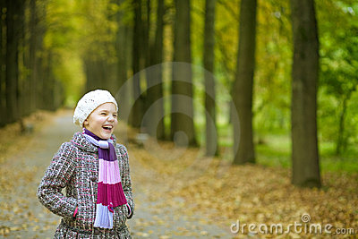 Happy funny laughing cute blonde girl
