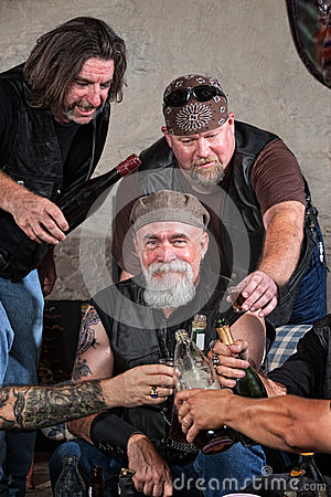 Happy Gang Members with Alcohol
