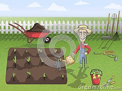 happy gardener character at work stock vector image