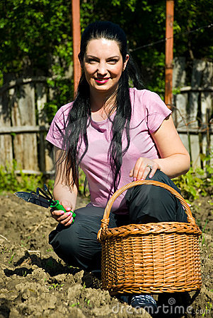 Happy gardener woman