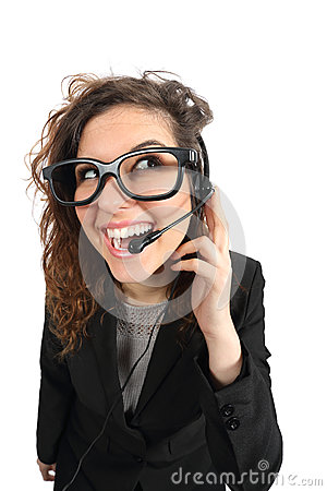 Free Happy Geek Telephone Operator Woman Attending A Call Stock Photos - 53242193