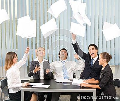 Happy gesturing business team