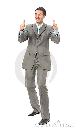 Happy gesturing businessman
