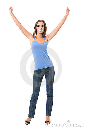 Happy gesturing woman, isolated