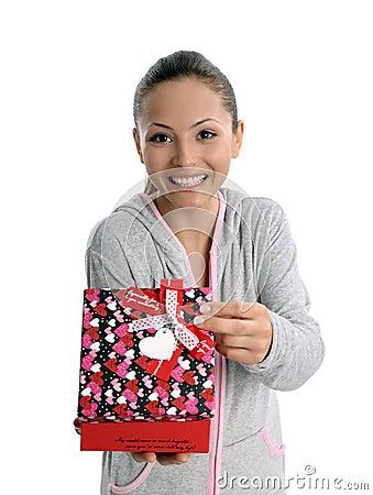 Happy gift woman