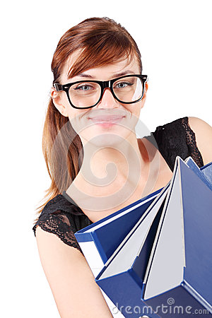 Happy girl in big glasses holds folders