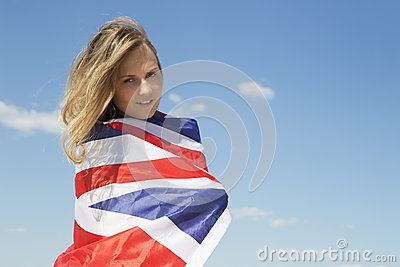 Happy girl in british flag