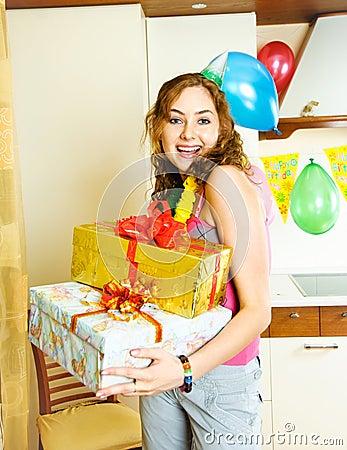 Happy girl celebrating her birthday