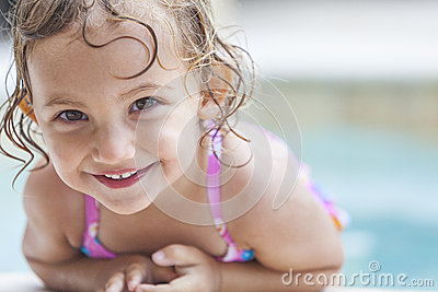 Happy Girl Child Baby In Swimming Pool