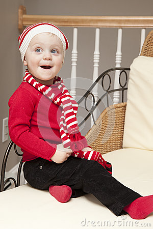 Happy girl at Christmas