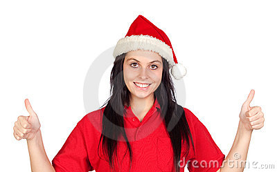 Happy girl with Christmas hat saying Ok