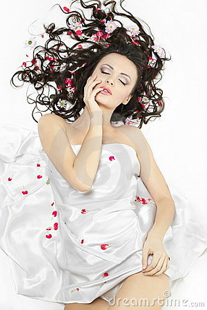 Free Happy Girl Covered With Bed Sheet In Flowers Stock Photography - 23006182
