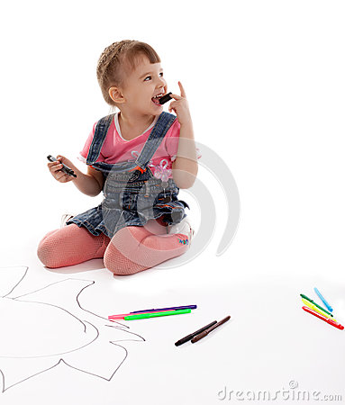 Free Happy Girl Drawing Markers On Floor Stock Image - 25297731