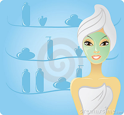 Happy girl with facial mask