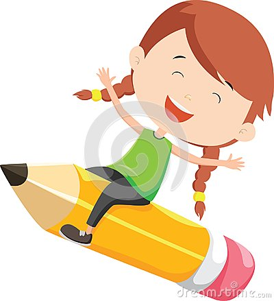 Free Happy Girl Flying On A Pencil Stock Photography - 123388512