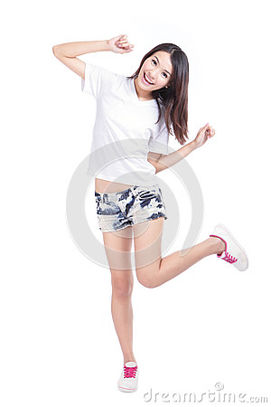 Happy Girl in full length with white T-Shirt