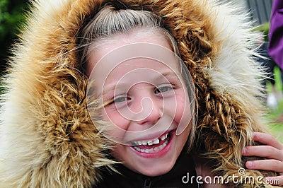 Happy Girl in Fur Hood