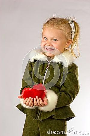 Happy girl giving her heart