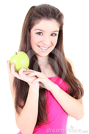 Happy girl with green apple