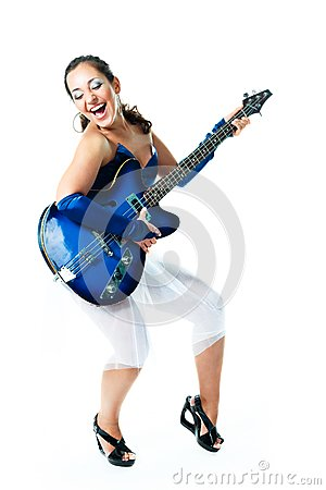 Happy girl with a guitar