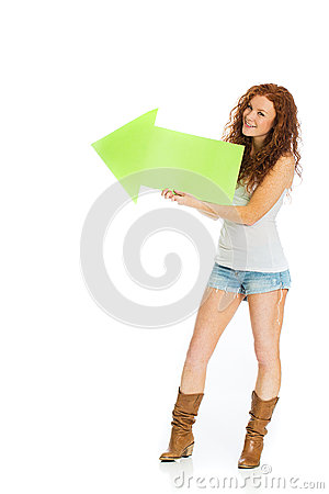 Happy girl holding an arrow pointing left