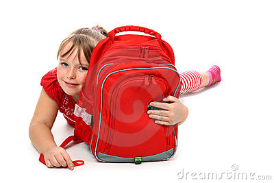 Happy girl hugging school bag isolated on white