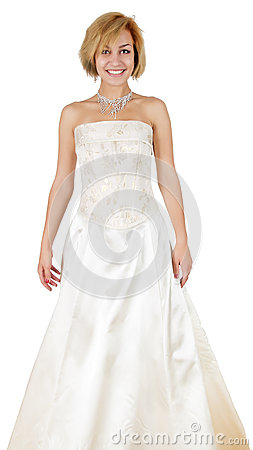 Free Happy Girl In A White Evening Dress And Necklace. Royalty Free Stock Image - 67774326