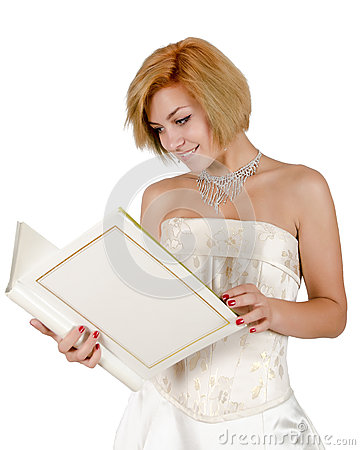 Free Happy Girl In A White Evening Dress And Necklace Royalty Free Stock Photography - 67774347