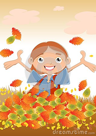 Free Happy Girl In Autumn Stock Images - 27093354