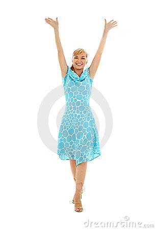 Free Happy Girl In Blue Dress With Royalty Free Stock Photos - 2744148