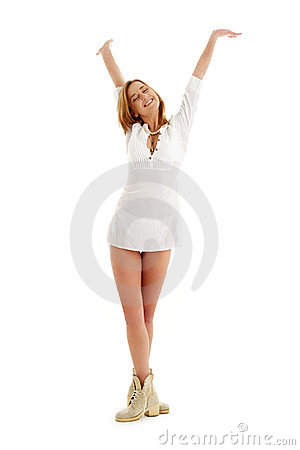 Free Happy Girl In White Dress And Royalty Free Stock Photo - 2342905
