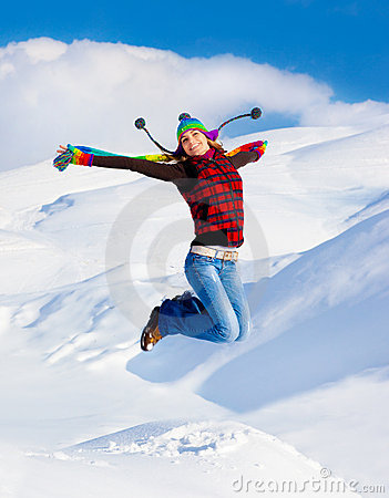 Free Happy Girl Jumping Stock Images - 22438954