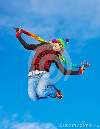 Free Happy Girl Jumping Royalty Free Stock Photography - 27449117