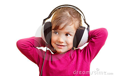 Happy girl listening to music