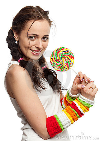 Happy girl with lollipop.