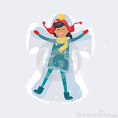 Free Happy Girl Makes Snow Angel. Winter Illustration Stock Images - 88695754